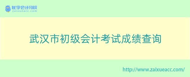 武汉市初级会计考试成绩查询